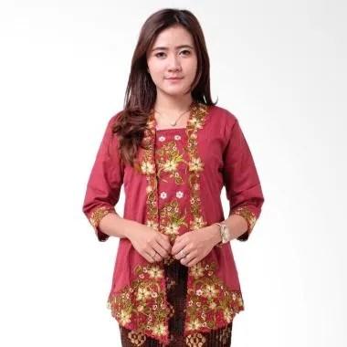 Batik Distro BA9116 Kutu Baru Renda 3-4 Kebaya Wanita - Merah