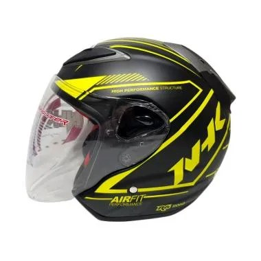 NHK R6 Airfit R Helm Half Face - Black Yellow Dop