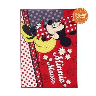 Disney Minnie Mouse Valvet Carpet Mad About Alas Lantai [Large]