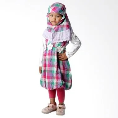 4 You Moslem Plaid Dress Baju Muslim Anak - Ungu