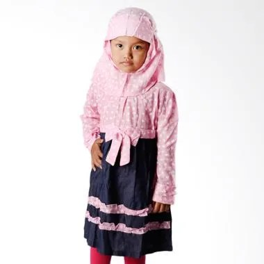 4 You Moslem Floral Dress Baju Muslim Anak - Pink