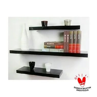 Sakura Floating Shelves Black Glossy Rak Dinding