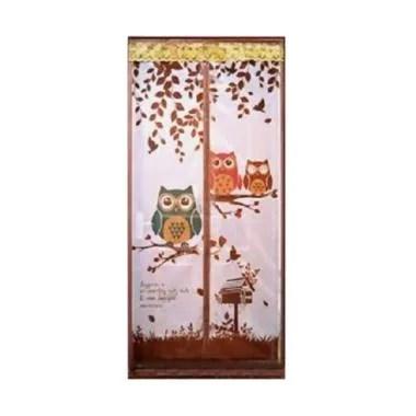 Home-Klik Motif Owl Magnet Tirai Anti Nyamuk - Coklat