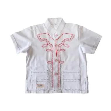 Rafifa Koko Pendek Bordir Merah Model B Baju Koko Anak - Putih