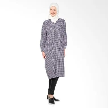 Chick Shop simple checkered long shirt CO-34-01-H Baju Moslem - Black