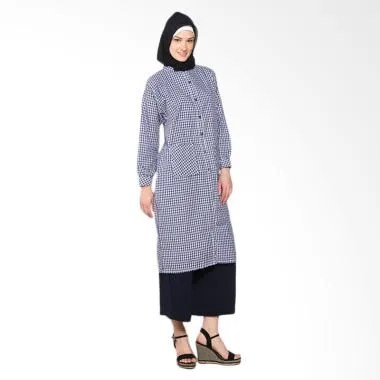 Chick Shop simple checkered long shirt CO-34-02-D Baju Moslem - Navy