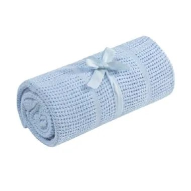 Mothercare Crib-Moses Basket Cellular Cotton Blanket - Blue [585733]