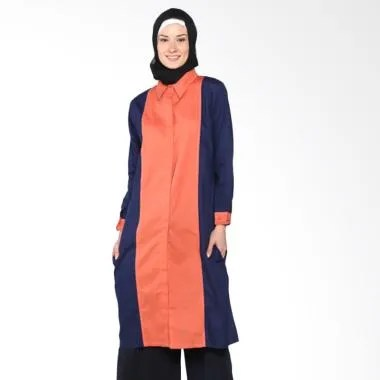 Chick Shop Tunic Plain Combination  ... Baju Moslem - Orange Navy