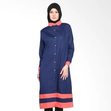 Chick Shop CO-73-04-DPe Two Tone Sa ... Tunic Moslem - Navy Peach