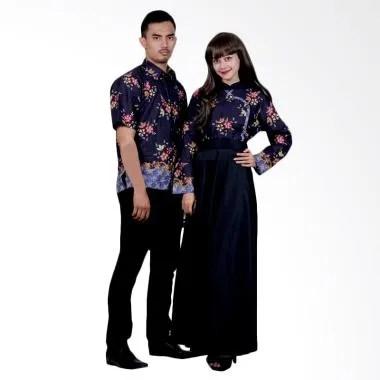 Batik Putri Ayu Solo SRG110 Sarimbit Gamis Modern Batik Couple - Hitam