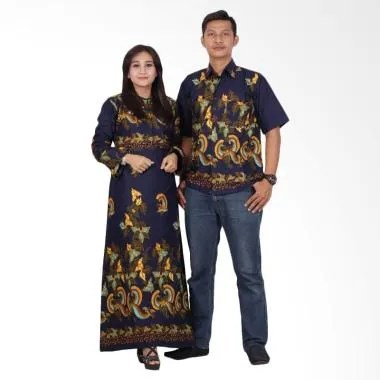 Batik Putri Ayu Solo Gamis Modern srg201 Baju Batik Couple - Biru