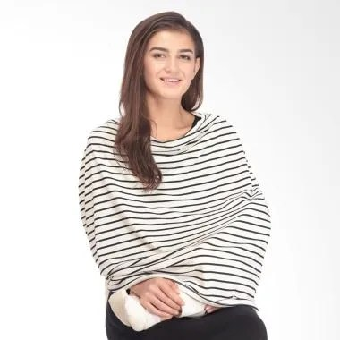 Mooimom Multi Use Nursing Scarf Apr ...  Black White Fine Stripes