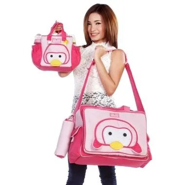 Dialogue Baby Tas Besar Saku Animal ... que Series Pinguin - Pink