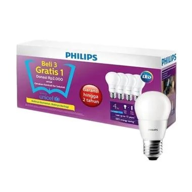 PHILIPS Lampu LED [4 W/ 3 Bonus 1]