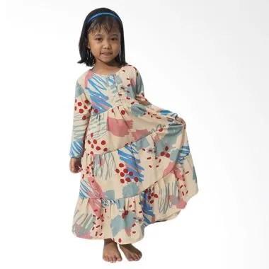 Mukena Dinda Rania Abstract Gamis Anak - Blue Pink