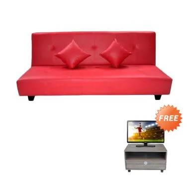 Creova Mario Sofa Bed - Merah + Free Side Table