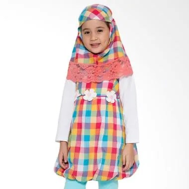 4 You Moslem Plaid Dress Muslim Anak - Kuning