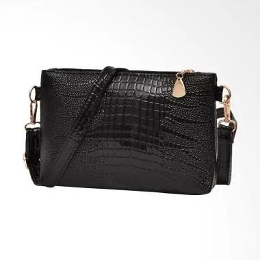 Lansdeal Women Fashion Crocodile Pa ... ng Bag Tas Wanita - Black