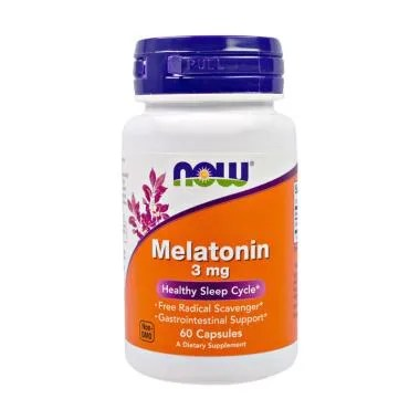 Now Foods Melatonin 3 mg Suplemen [60 Capsules]