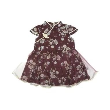 Babylon Cheong Sam Purple Dress Anak Perempuan