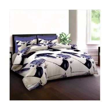 King Rabbit Motif Manu Bay Bed Cover - Biru