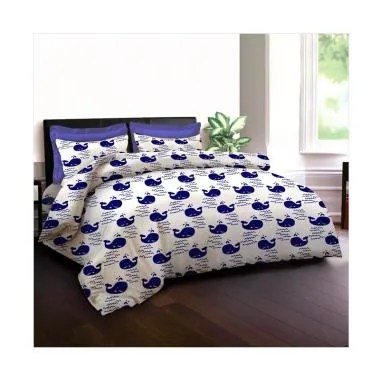 King Rabbit Motif Blue Whale Bed Cover - Biru