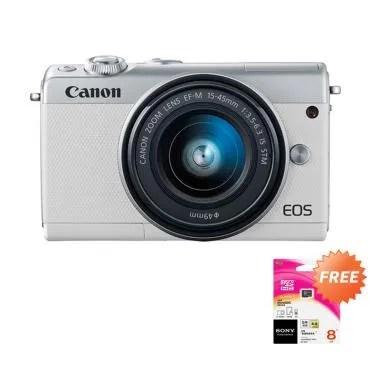 Canon EOS M100 Kit 15-45mm Kamera M ... te + Free Memory Sony 8GB