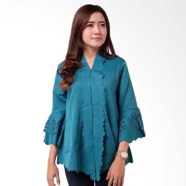 Batik Distro BA9089 Encim Polos Kebaya Wanita - Biru