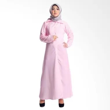 MIMUMOO Gamis Kaftan Abaya Terusan Dress Muslimah Syar'i - Mika Pink