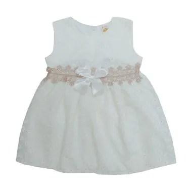 PLEU Brokat Renda Pinggang Dress Anak - Broken White