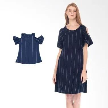 Mooimom Cold Shoulder Nursing Dress ... uple Ibu Anak - Navy Girl