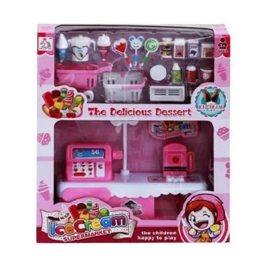 Yoyo Toys Ice Cream Supermarket Cash Register Toys Mainan Anak - Pink