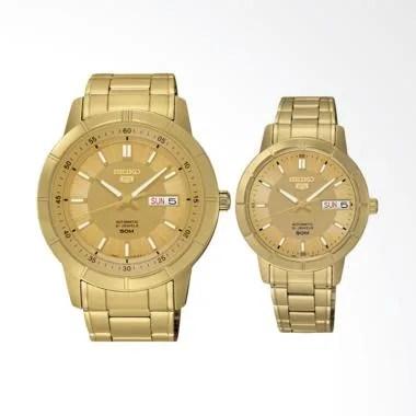 Seiko 5 Automatic Jam Tangan Couple - Gold [SNKN62K1/SNK888K1]