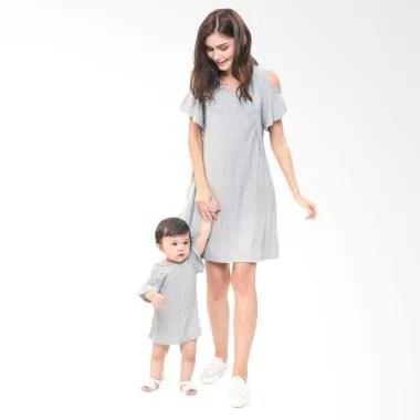 MOOIMOM Cold Shoulder Nursing Dress ... uple Ibu Anak - Grey Girl