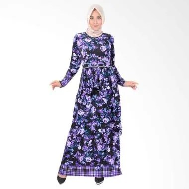 Jfashion Aqillah Maxi Corak Bunga Long Dress Gamis Wanita - Ungu