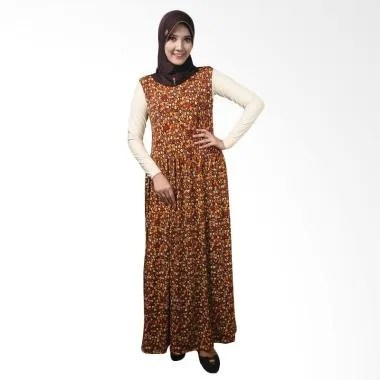 Nafisa Production Dress Kaleena Long Dress Muslim - Coklat Tua