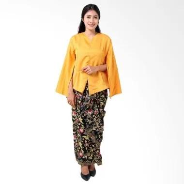 Batik Distro BA8772 Kaftan Setelan Pakaian Wanita - Kuning