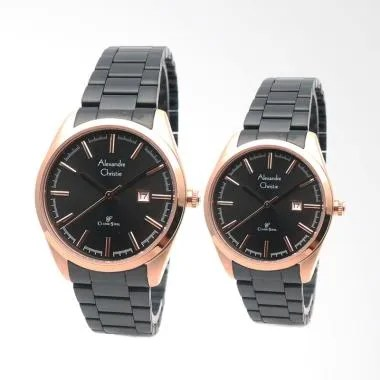 Alexandre Christie AC8560CPL Jam Tangan Couple - Black Gold