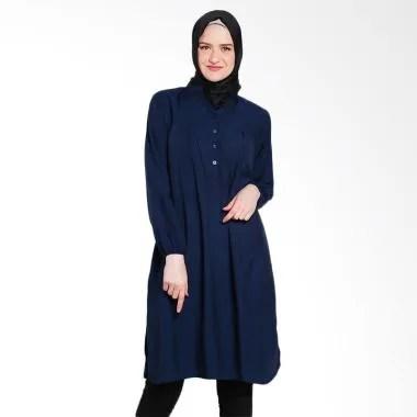 Koesoema Clothing Stella Midi Dress ... unik Muslim Wanita - Navy