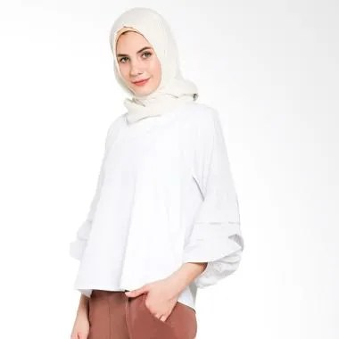 Imperial Bloom Hand Top Blouse Muslim - White