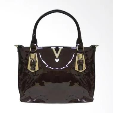 Shine Accessories TU1552 BRW Kulit Plat V Motif Polos Hand Bag Wanita