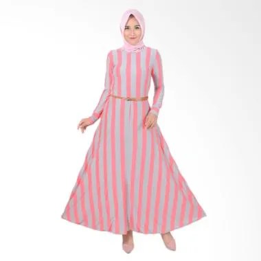 Jfashion Khanza Maxi Corak Salur Long Dress Gamis Wanita - Salem