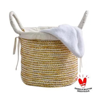 Nine Ciky Square Laundry Basket - Gold White