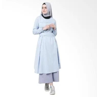 SYAHEERA Mono Tunik Atasan Muslim Wanita - Blue Denim