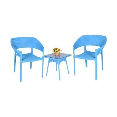 Pine Rotan Pear Chair Set - Biru Tua