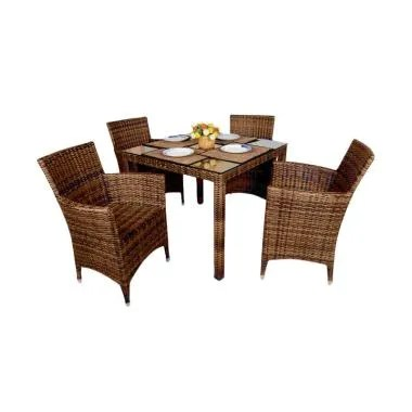 Pine Rotan Esmeralda Kenko Chair Dining Set Meja Makan - Brown Black