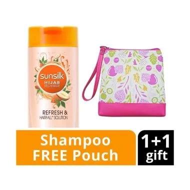 SUNSILK Hijab Refresh & Hairfall So ... poo [340 mL] + Free Pouch