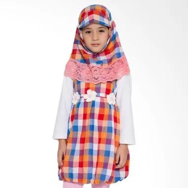 4 You Moslem Plaid Dress Muslim Anak - Orange