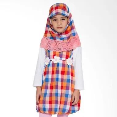 4 You Moslem Plaid Dress Muslim Anak - Orange