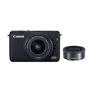 Canon EOS M10 Kit EF-M 15-45mm Black Kamera Mirrorless + Canon 22mm